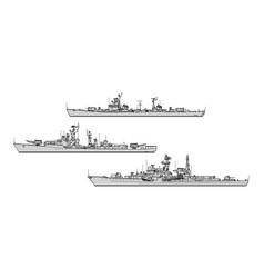 soviet destroyers vector image