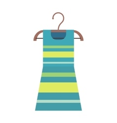 Striped Dress on a Wooden Hanger vector