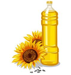 Sunflower oil bottle vector
