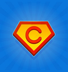 Superhero logo icon with letter c on blue vector