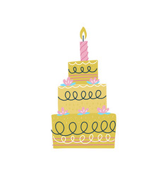 tall hand-drawn birthday cake with candles pink vector image