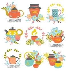 Tea Ceremony Hand Drawn Emblems vector