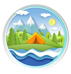 tourist tent on river bank forest and mountain vector image