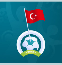 turkey flag pinned to a soccer ball european vector image