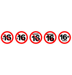 Under 16 not allowed sign number sixteen in red vector