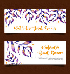 watercolor leaves banner vector image