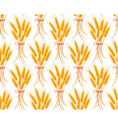 wheat seamless pattern spikelets repeating vector image