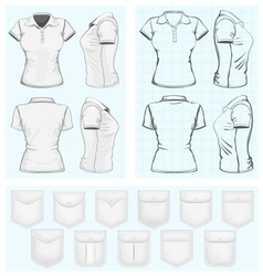 Womens polo-shirt design templates vector