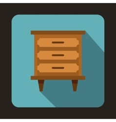 Wooden nightstand icon flat style vector