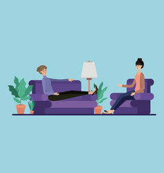 Young couple relaxing on the livingroom vector