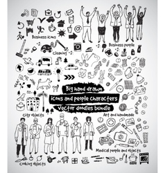 Big hand drawn icons and people doodles bundle vector image