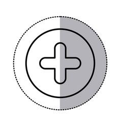 monochrome contour circular sticker with plus icon vector image vector image