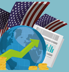 World economy infograph usa vector