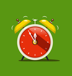 alarm clock flat design icon on green background vector image vector image
