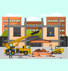 construction site staff working on the vector image