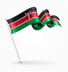 kenyan pin wavy flag vector image