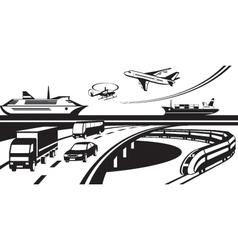 Passenger and cargo transportation scene vector image vector image
