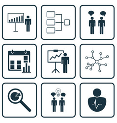 Set of 9 board icons includes team meeting vector