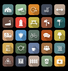 village flat icons with long shadow vector image vector image
