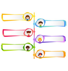 six labels with happy kids vector image vector image