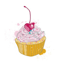 hand drawn of cupcake vector image