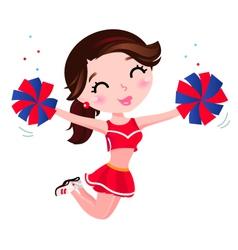 Jumping cheerleader girl vector image