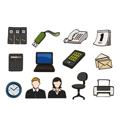 office doodle icon set vector image vector image