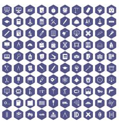 100 compass icons hexagon purple vector