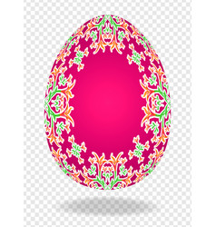 3d red red easter egg with a pattern of lilies and vector
