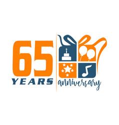 65 years gift box ribbon annivers vector