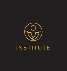 Abstract institute logo template design emblem vector