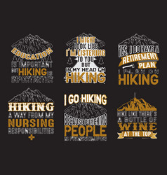 adventure quote set adventure camping hiking set vector image