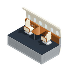 Airplane interior isometric composition vector