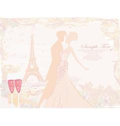 Ballroom dancers silhouette in Paris - invitation vector