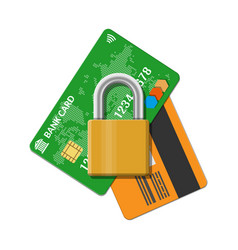 bank or credit card with pad lock vector image