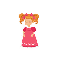 Beautiful redhead little girl posing in pink dress vector