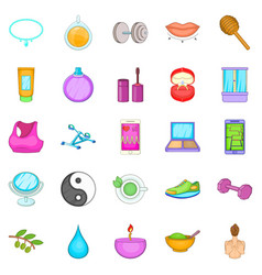 Beauty makeup icons set cartoon style vector