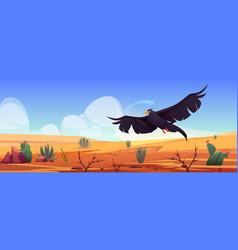 black eagle over desert landscape falcon or hawk vector image