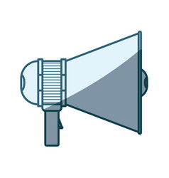 Blue shading silhouette of megaphone icon with vector