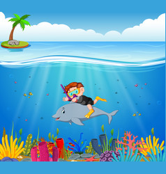 cartoon boy diving in the sea with dolphin vector image