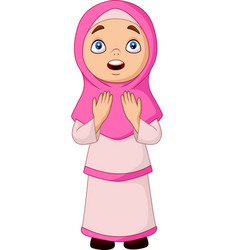 cartoon muslim girl praying for allah vector image