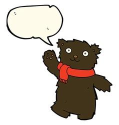 Cartoon teddy bear wearing scarf with speech vector