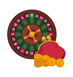 casino roulette wheel and red purse with gold vector image