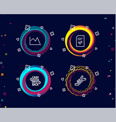 checked file cashback card and line chart icons vector image