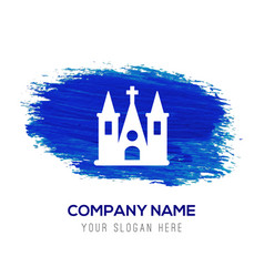 church building icon - blue watercolor background vector image