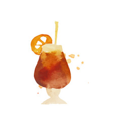 cocktail or iced tea colorful hand drawn vector image