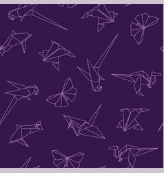 colorful seamless pattern with origami animals vector image