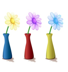 Colorful vases with flowers vector
