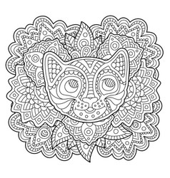 coloring book page with stylized cat face vector image