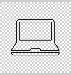 computer notebook in line style monitor flat icon vector image